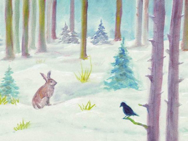 026: Winterwald, Hase und Vogel