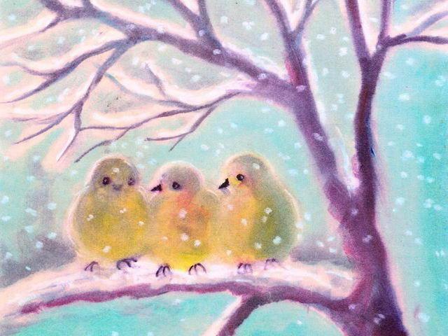 065: Drei Spatzen im Schnee