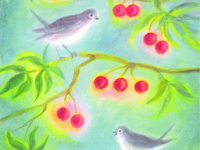 068: Vögel auf Kirschenzweigen
