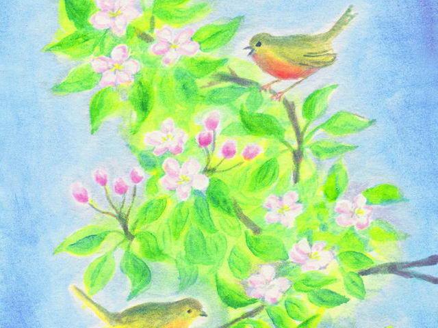069: Vögel in Apfelblüte (I)
