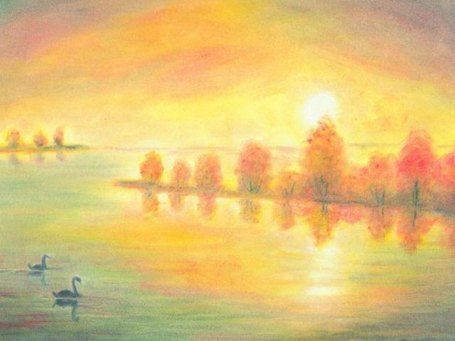 157: Herbstlicher Fluss, Schwäne