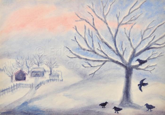 135_Verschneiter Baum- Voegel