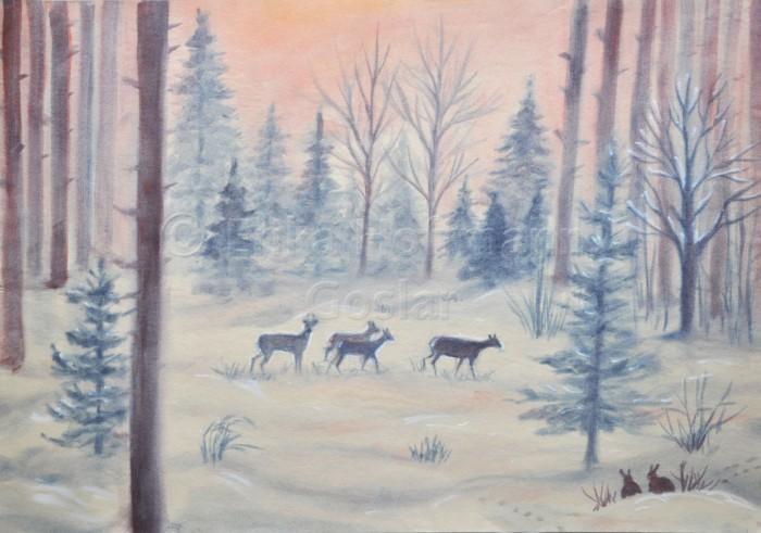 136_Rehe im Winterwald