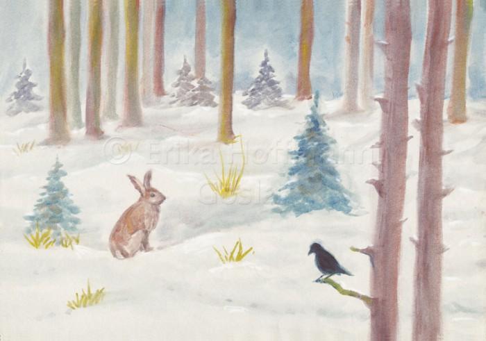 026_Winterwald, Hase und Vogel