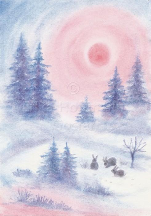 041_Hasen, Schnee, rote Sonne