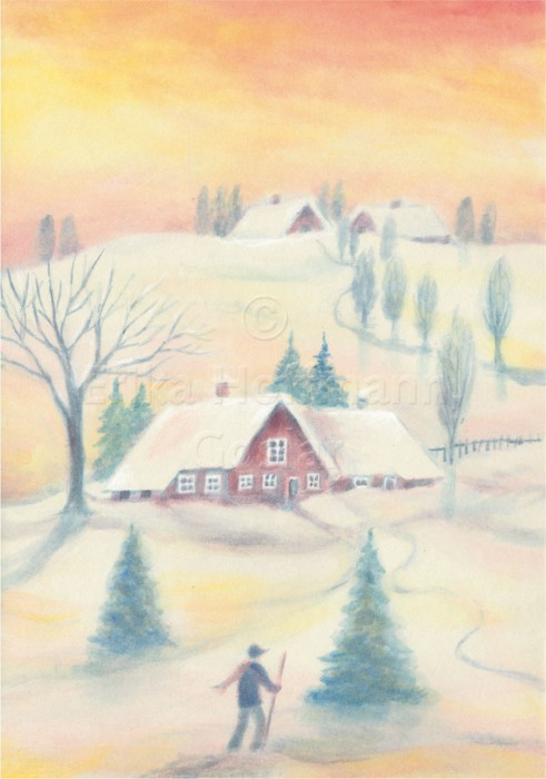 042_Schneelandschaft, Haeuser