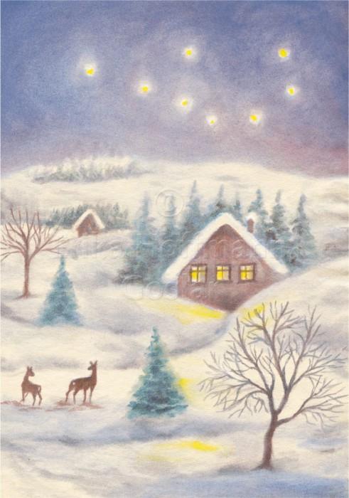 043_Winterlandschaft, nachts I
