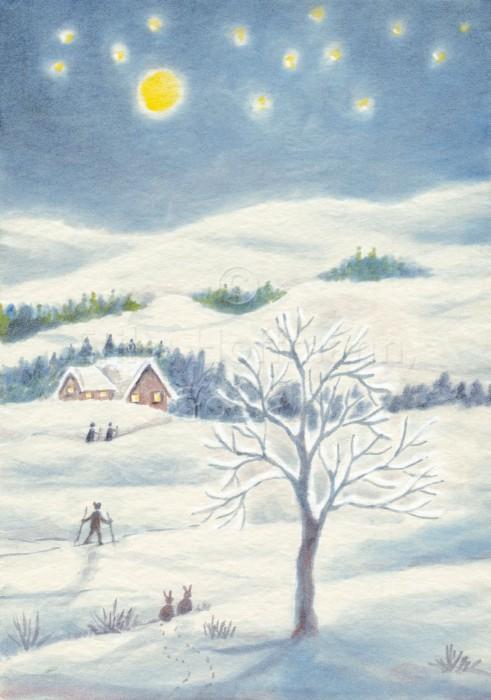 044_Winterlandschaft, nachts II