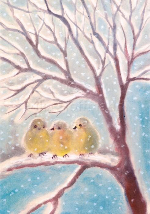 065_Drei Spatzen im Schnee
