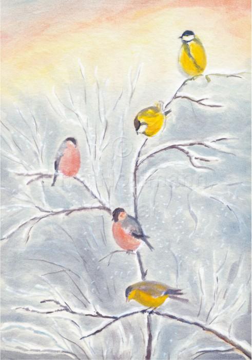 067_Vogel auf Schneezweig
