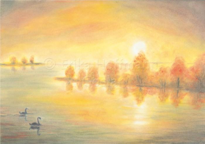 157_Herbstlicher Fluss, Schwaene