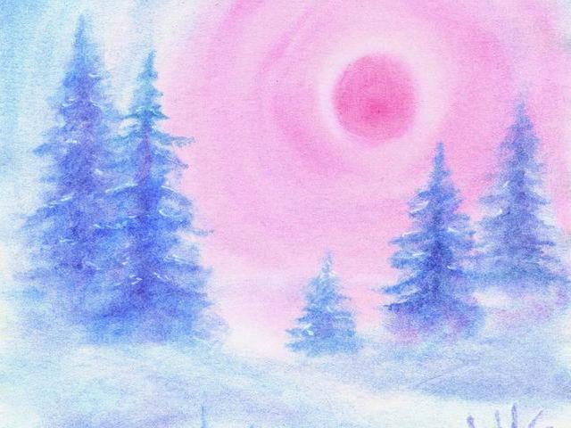 041: Hasen, Schnee, rote Sonne
