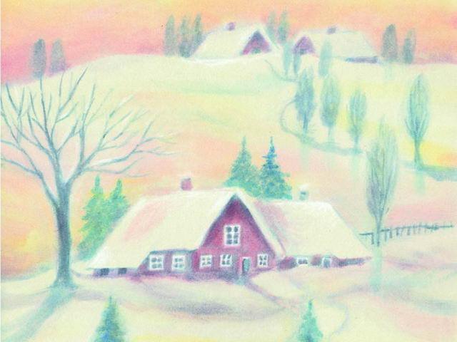 042: Schneelandschaft, Häuser