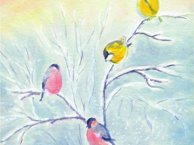 067: Vogel auf Schneezweig