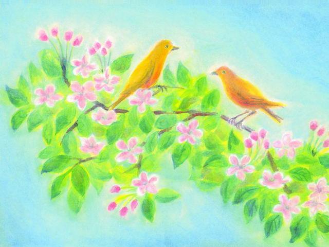 071: Vögel in Apfelblüte (II)
