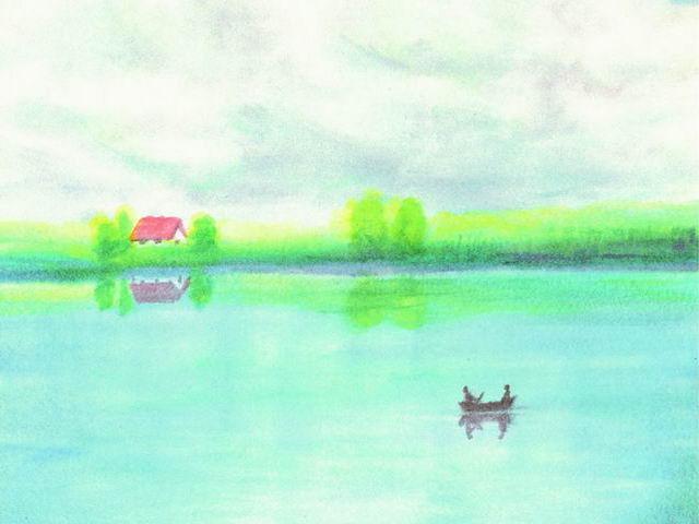091: Sommerwolken über Fluß