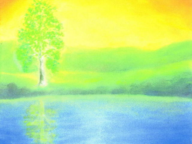 098: Landschaft, Birke, Regenbogenfarben