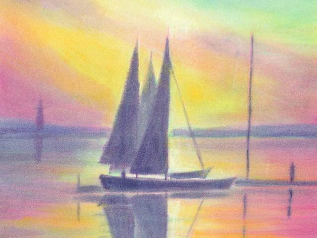 129: Segelboote abends am Pier