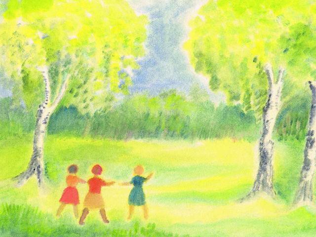 137: Kinder auf Birkenwiese