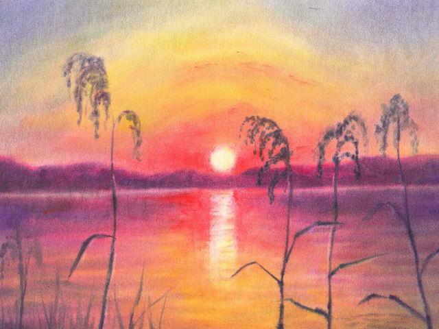 156: Sonnenuntergang am Ufer