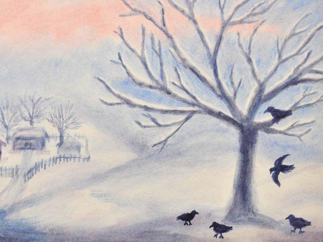 135: Verschneiter Baum, Vögel