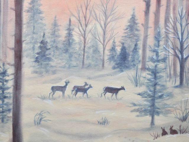 136: Rehe im Winterwald