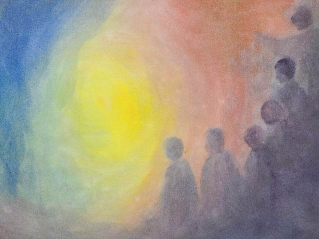 158: Menschen blicken zum Licht