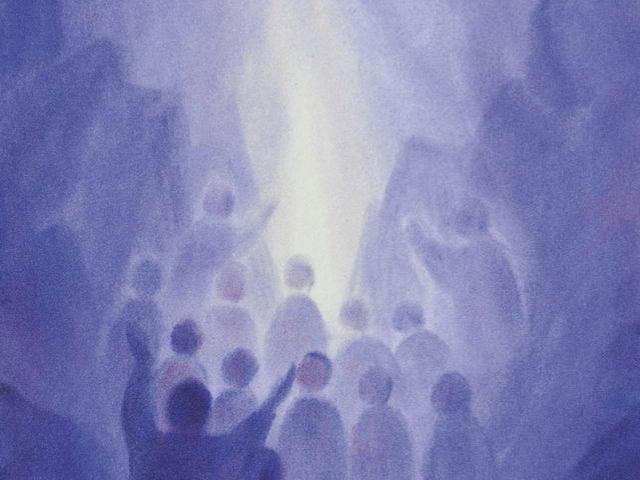163: Menschen blicken zum Licht, blau