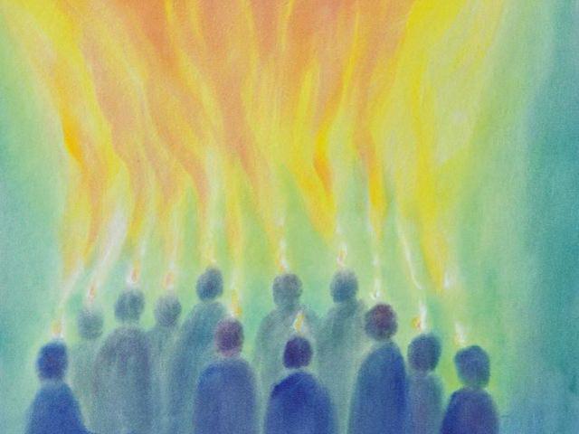 164: Menschen blicken zum Licht, farbig